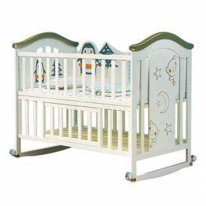 Set giường cũi gỗ cho bé KidsPlaza 4in1 White Lux